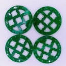 27mm Round Laser Cut Cabochon in Green Marble