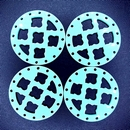 27mm Round Laser Cut Cabochon in Light Turquoise