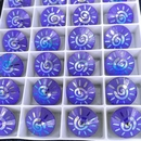14mm Rivoli in Majestic Blue AB with Laser Etched Swirl or Sun pattern (Swarovski)