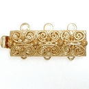 Claspgarten Gold clasp with 3 rows 13495 - 19x7mm