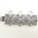 Claspgarten Silver clasp with 3 rows 13495 - 19x7mm