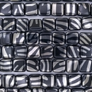 20 x 10mm Black squares with Silver zebra stripes