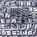 20 x 10mm squares in Black with Silver zebra stripes