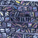 20 x 10mm Black squares with Multicolour zebra stripes