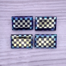 18x12mm rectangular cabochon in Black with Chessboard design