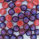 6 x 12mm candy beads in Opaque Red with Laser etched Rose