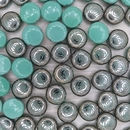 6 x 12mm candy beads in Turquoise with laser etched Chrome rose