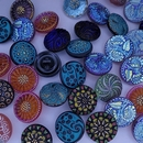 18mm Hand painted Czech Button - free gift