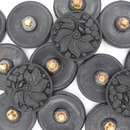 22mm Black glass button B1 (vintage)