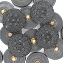 22mm Black glass button B2 (vintage)