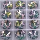 14mm Rivoli in Emerald with Laser Etched Rose pattern (Swarovski)