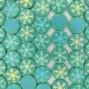 8 x 14mm disc beads in Matt Dark Green with Snowflake 2 design