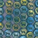 8 x 14mm disc bead in Dark Green with Cat design