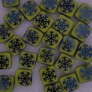 25 x 6mm Czech tiles in Yellow with Laser etched Snowflakes