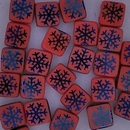 25 x 6mm Czech tiles in Orange with Laser etched Snowflakes