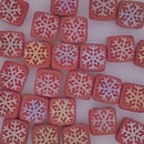 25 x 6mm Czech tiles in Matt Red with Laser etched Snowflakes