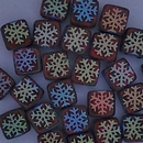 25 x 6mm Czech tiles in Matt Dark Red with Laser etched Snowflakes