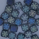 25 x 6mm Czech tiles in Matt Black with Laser etched Snowflakes