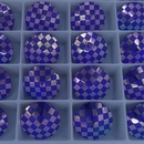 14mm Rivoli in Majestic Blue with Laser Etched Chessboard pattern (Swarovski)