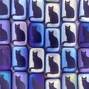 6 x Laser etched Rectangular beads with Matt Black cat design (18x12mm)