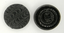 23mm Black glass button B21 (vintage)