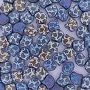 15 x ginkgo beads in Matt Black with Rose design