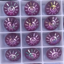 14mm Rivoli in Fuchsia AB with Laser Etched Sun pattern (Swarovski)