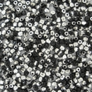 50 x 2.5mm faceted Black / Silver beads