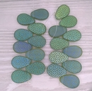 10 x Light Green drops with laser etched Hexagons (18x12mm)