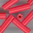 5 x Red cylindrical beads (1970s) 20x5.5mm