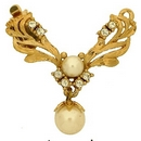 Claspgarten Gold 28mm clasp with pearl drop and 1 row 13602