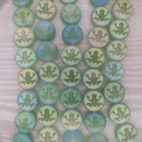 10 x 12mm disc beads in Matt Green with Laser etched frog