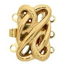 Claspgarten Gold clasp with 3 rows 14358 - 12x10mm