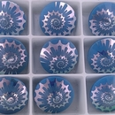 14mm Matubo Rivoli in Blue Pearl with laser etched shell design