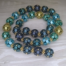 Selection of Blue, Green and Gold beads for the necklace Selected Berries Harvest