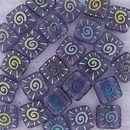 25 x 6mm Czech tiles in Tanzanite with laser etched Sun