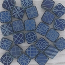 25 x 6mm Czech tiles in Light Blue with laser etched Blue patterns