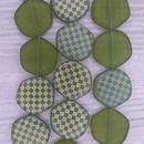 8 x 18mm irregular discs in Matt Green with laser etched chessboard