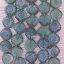 10 x 14mm irregular discs in Matt Green with laser etched shell pattern