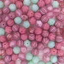 10 x 9mm melon beads in Pink Mix