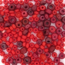 5g x 2.5-4mm Mix of Red seed beads (1950s)