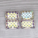 18x12mm rectangular cabochon in Crystal with Chessboard design