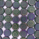 8 x 16mm disc beads in Matt Dark Green with laser etched shell