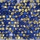 50 x 4mm faceted beads in Opaline Sapphire/ Amber