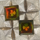 14mm Orange/Green Square Cabochon (Vintage) Cab35