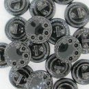 13mm Black glass button B25 (vintage)