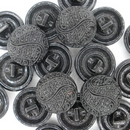 18mm vintage Black glass button B22