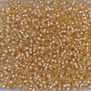 003F - 50g Size 11/0 Miyuki seed beads in Matt Silver lined Gold - 10% discount