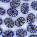 4 x ovals in Opaque Blue with Gold lines (17x12mm)