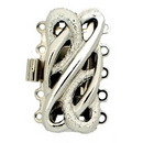 Claspgarten Silver clasp with 5 rows 14359 - 25x12mm